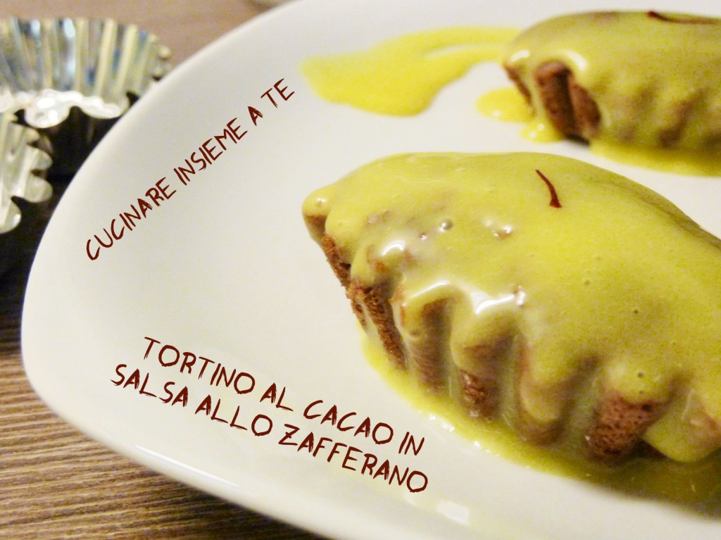 TORTINO AL CACAO IN SALSA ALLO ZAFFERANO